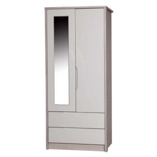 2 Drawer Combi Robe with Mirror - Champagne Avola with Sand Gloss-0