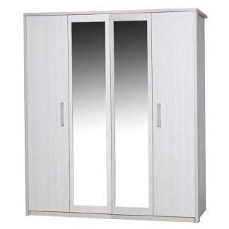 4 Door Robe with 2 Mirrors - Cream with White Avola-0