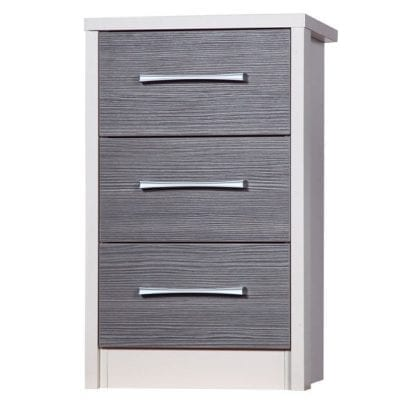 3 Drawer Bedside - Cream with Grey Avola-0