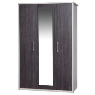 3 Door Robe with Mirror - Cream with Grey Avola-0