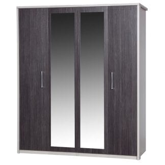 4 Door Robe with 2 Mirrors - Cream with Grey Avola-0