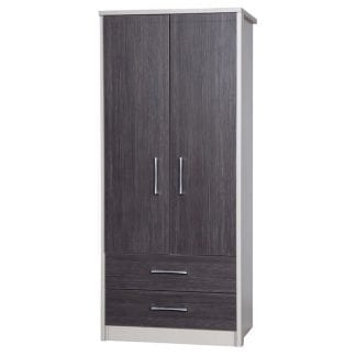 2 Drawer Combi Robe - Cream with Grey Avola-0
