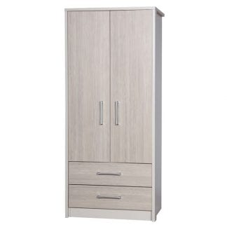 2 Drawer Combi Robe - Cream with Champagne Avola-0