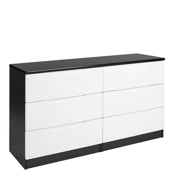3 drawer double chest black white gloss focus furnishing