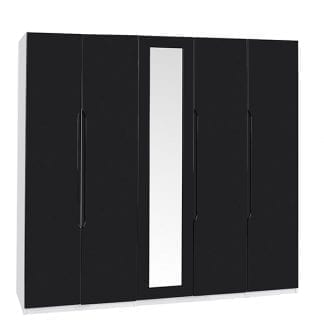 Tall 5 Door Robe - White / Black Gloss-0