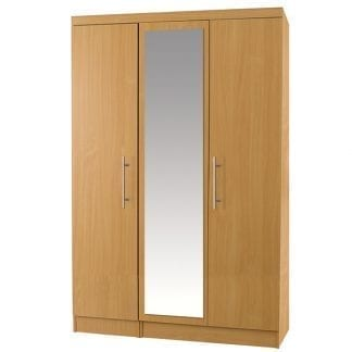 3 Door Robe with Mirror - Beech-0