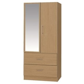 2 Drawer Combi Robe with Mirror - Oak-0
