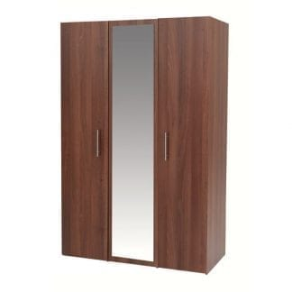 3 Door Robe with Mirror - Walnut-0