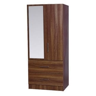 2 Drawer Combi Robe with Mirror - Walnut-0