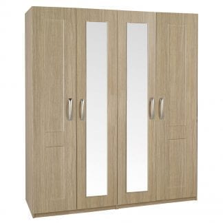 Tall 4 Door Robe - Oak-0