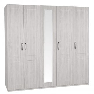 Tall 5 Door Robe - White Avola-0