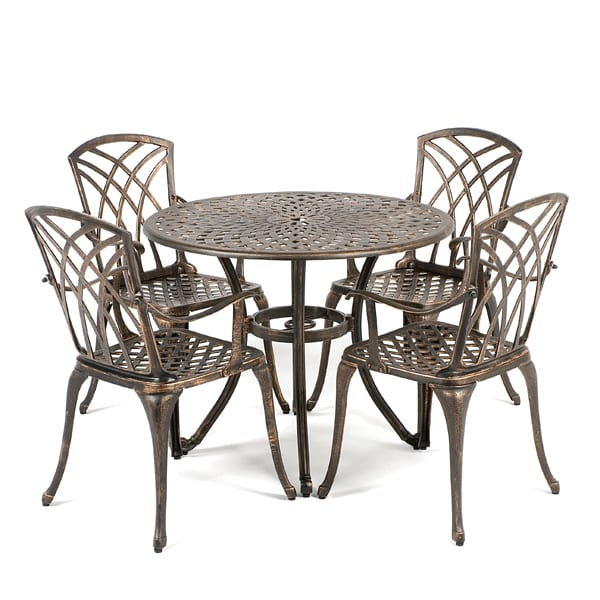 ellister regency cast aluminium 4 armchair 90cm round outdoor set