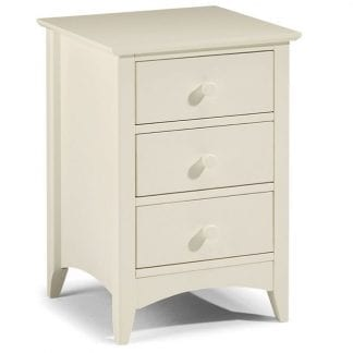 Cameo 3 Drawer Bedside - Stone White